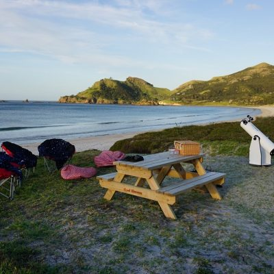 Good Heavens, tour set-up, Medlands beach, Great Barrier Island
